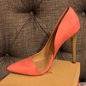 Coral pointed toe pumps